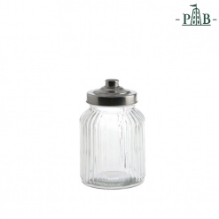 TUSCANIA RIBBED GLASS CONTAINER D11H17GB