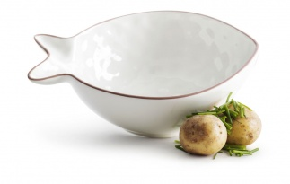 Fish serving bowl small white