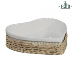 WICKER FOR HEART BACKING DISH cm 25x24