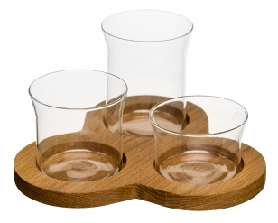 Oval oak serving set, 4 pcs