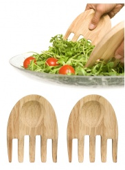 Hands salad utensils