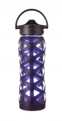Lifefactory 22 oz Glass Bottle with Axis Straw Cap - Aubergine