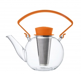 Glass teapot with clip handle & stainless steel filter - Orange