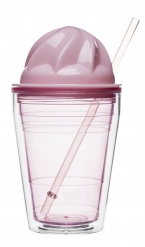 Sweet milkshake with straw, pink