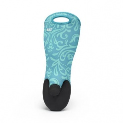 Sizzler Oven Mitt  Sea Glass Blue Damask
