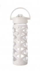 Lifefactory 16 oz Glass Bottle with Axis Straw Cap - Optic White