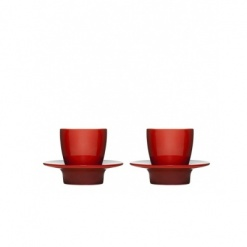 Loop espresso cup with saucer/lid 2-pack, red