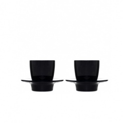 Loop espresso cup with saucer/lid 2-pack, black