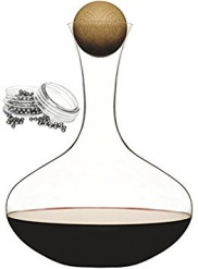 Oval wine carafe with oak stopper + steel cleaning beads