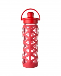 Lifefactory 22 oz Glass Bottle with Active Flip Cap - Charged Red