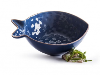 Fish serving bowl small blue