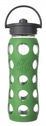 Lifefactory 22oz Glass Bottle with Straw Cap - Grass Green