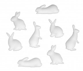 Bunny Magnet Set Of 8 White