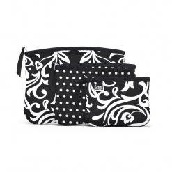 BPC - Zip Cosmetic Pouches 3pk Damask and Mini Dot Black & White