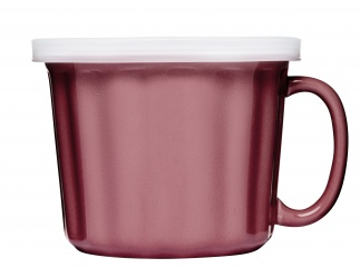 Soup mug with lid, pink