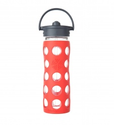 Lifefactory 16 oz Glass Bottle with Straw Cap - Poppy
