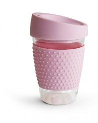 Glass mug with silicone pink