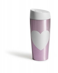 Car mug with lock button heart, pink