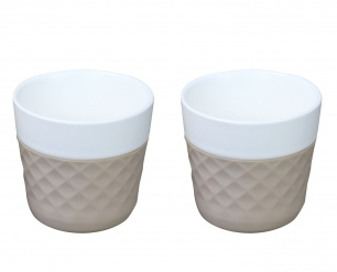 Lola 2 porcelaine coffee cups - taupe