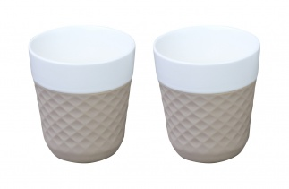 Lola 2 porcelaine tea cups - taupe