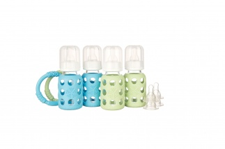 Lifefactory 4oz Starter Set - 4 bottles - Sky/Spring Green