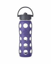 Lifefactory 22 oz Glass Bottle with Straw Cap - Royal Purple