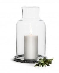 Lantern / candle holder with marble base