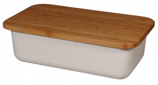 BREAD BIN & bamboo cutting board with lid Coconut white