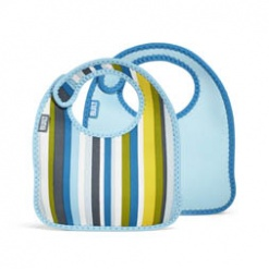 Mess Mate: Infant Bib (Set Of 2) Baby Blue Stripe Xxx