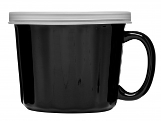 Soup mug with lid, black