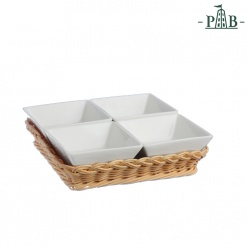 Wicker For 4 Square Bowls Cm 10(#)
