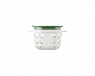 Lifefactory 2 cup Glass Food Storage - Optic White/Grass Green