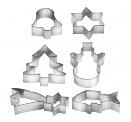 Christmas Cookie Cutters On Ring, 6 Pcs Delicia