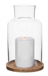 Oval oak candleholder, big
