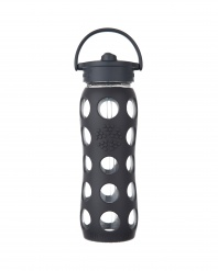 Lifefactory 22 oz Glass Bottle with Straw Cap - Carbon
