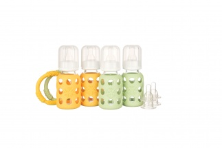 Lifefactory 4oz Starter Set - 4 bottles - Yellow/Spring Green