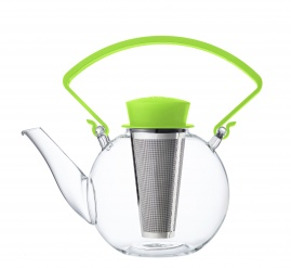 Glass teapot with clip handle & stainless steel filter - Green