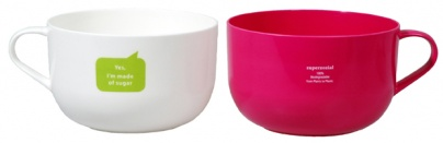 JUST SUGAR DUO-BOWL, set of 2 White-Pink
