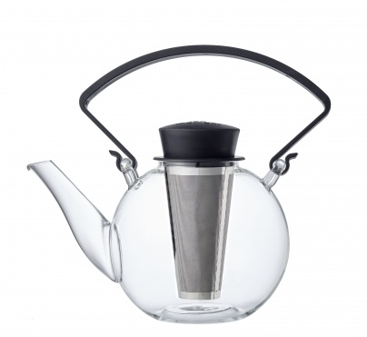 Glass teapot with clip handle & stainless steel filter - Black