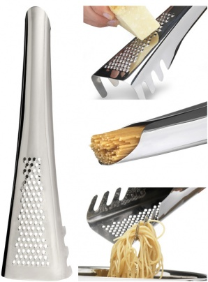 Pasta server with parmesan grater