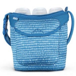 Bottle Buddy: Three Bottle Tote Dribble Dots Blue