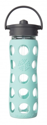 Lifefactory 16oz Glass Bottle with Straw Cap - Turquoise