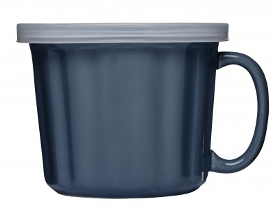 Soup mug with lid,  blue