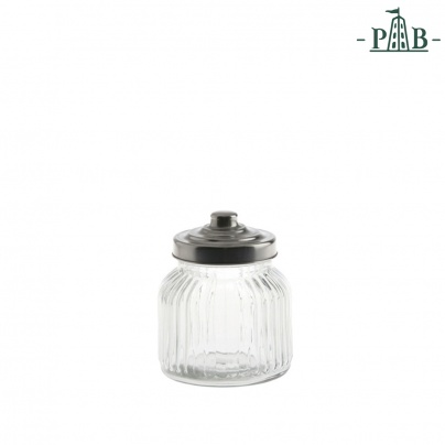 TUSCANIA RIBBED GLASS CONTAINER D11H12GB