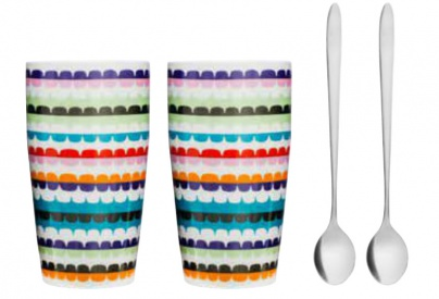 POP late mug with spoon 2-pack
