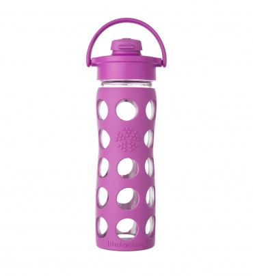 Lifefactory 16 oz Glass Bottle with Flip Cap - Huckleberry