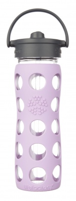 Lifefactory 16oz Glass Bottle with Straw Cap - Lilac