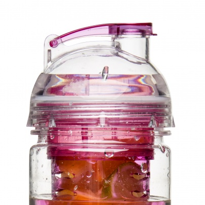 Fresh bottle with fruit piston pink