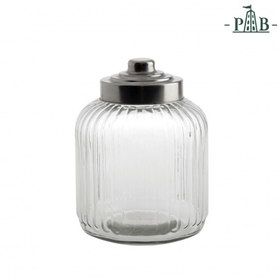 TUSCANIA RIBBED GLASS CONTAINER D18H24GB
