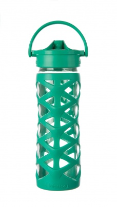 Lifefactory 16 oz Glass Bottle with Axis Straw Cap - Aquatic Green